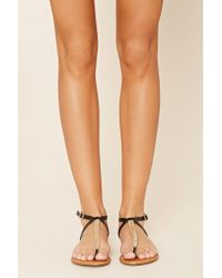 Forever 21 - Black Faux Leather T-strap Sandals - Lyst