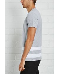 Forever 21 - Gray 's Contrast Striped Tee for Men - Lyst