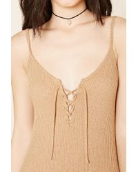 Forever 21   Natural Marled Lace-up Dress   Lyst
