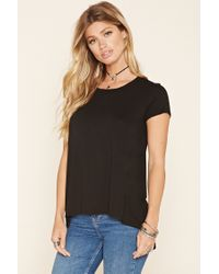 Forever 21 | Black Raw-cut High-low Top | Lyst