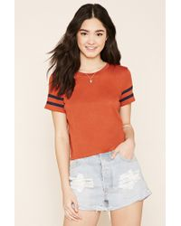 Forever 21 | Red Varsity-striped Tee | Lyst