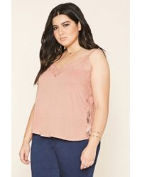 Forever 21 - Blue Plus Size Lace Trim Cami - Lyst