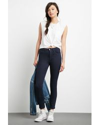 Forever 21 - Blue High-rise Skinny Jeans - Lyst