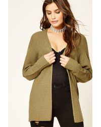 Forever 21 | Green Waffle Knit Cardigan | Lyst