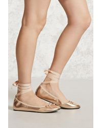 Forever 21 | Lace-up Metallic Ballet Flats | Lyst