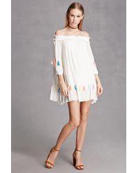 Forever 21 - White Tasseled Off-the-shoulder Dress - Lyst