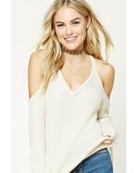 Forever 21 | Natural Contemporary V-neck Sweater | Lyst