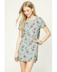 Forever 21 | Blue Floral Print Shift Dress | Lyst