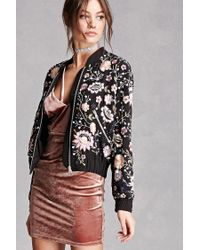 Forever 21 Black Rd & Koko Applique Bomber Jacket