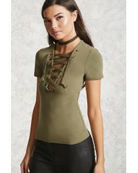 Forever 21 | Green Lace-up Knit Top | Lyst