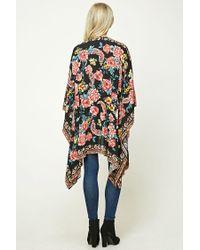 Forever 21 - Black Floral Print Kimono - Lyst