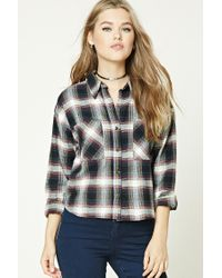 Forever 21 | Blue Boxy Flannel Plaid Shirt | Lyst