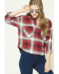 Forever 21 | Red Boxy Flannel Plaid Shirt | Lyst