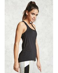 Forever 21 - Black Active Twofer Mesh-striped Top - Lyst
