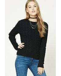 Forever 21 | Black Open-elbow Fisherman Sweater | Lyst
