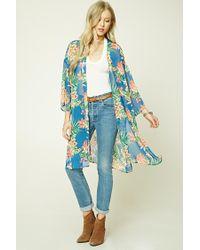 Forever 21 | Blue Tropical Print Side-slit Kimono | Lyst