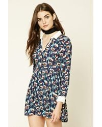 Forever 21 | Blue Collared Floral Print Dress | Lyst