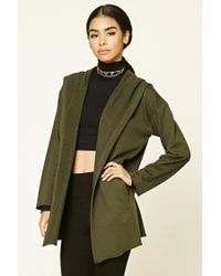 Forever 21 | Green Hooded Longline Cardigan | Lyst