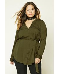 Forever 21 | Green Plus Size Textured Satin Shirt | Lyst