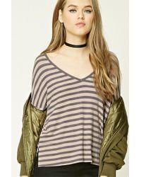 Forever 21 | Gray Striped V-neck Top | Lyst