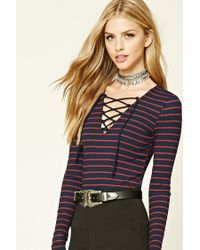 Forever 21 | Blue Striped Lace-up Top | Lyst