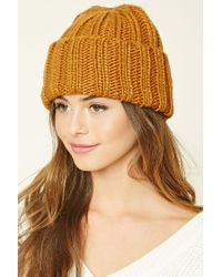 Forever 21 | Brown Purl Knit Fold-over Beanie | Lyst