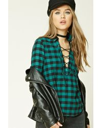 Forever 21 | Green Buffalo Check Lace-up Shirt | Lyst