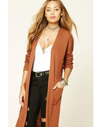 Forever 21 | Brown Ribbed Knit Open-front Cardigan | Lyst