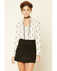 Forever 21 | Natural Cat Print Tie-neck Top | Lyst