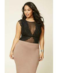 Forever 21 - Black Plus Size Lace Mesh Bodysuit - Lyst