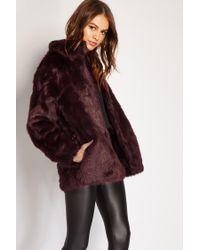 Forever 21   Brown Faux Fur Mock Neck Jacket   Lyst