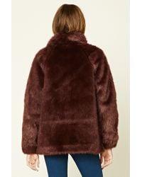 Forever 21 - Brown Faux Fur Mock Neck Jacket - Lyst