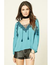 Forever 21 | Blue Embroidered Lace-up Peasant Top | Lyst