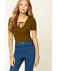 Forever 21 | Green Ribbed Knit V-neck Top | Lyst