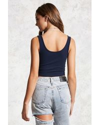 Forever 21 - Blue Scoop Neck Cropped Tank Top - Lyst