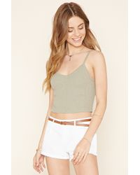 Forever 21 | White Belted Cuffed Shorts | Lyst