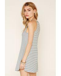 Forever 21 - Gray Striped Trapeze Mini Dress - Lyst