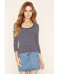 Forever 21 | Black Striped Ribbed Knit Top | Lyst