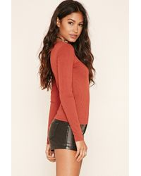 Forever 21 - Red Ribbed Knit Top - Lyst