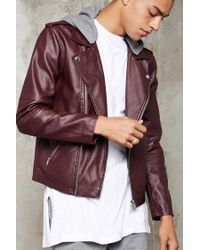 Forever 21 | Multicolor Hooded Faux Leather Moto Jacket for Men | Lyst