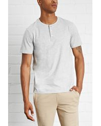 Forever 21 - Gray Heathered Henley Tee for Men - Lyst