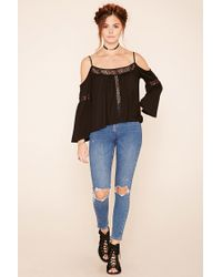 Forever 21 - Black Crochet Open-shoulder Top - Lyst