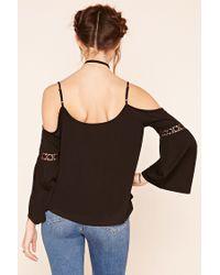 Forever 21 - Black Crochet Open-shoulder Top - Lyst