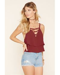 Forever 21 | Multicolor Lace-up Flounce Cami | Lyst