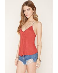 Forever 21 | Blue Burnout Knit Cropped Cami | Lyst