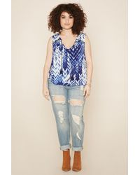 Forever 21 - Blue Plus Size Chevron Print Top - Lyst