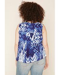 Forever 21 - Blue Plus Size Chevron Print Top - Lyst