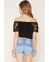 Forever 21 - Black Off-the-shoulder Lace Top - Lyst