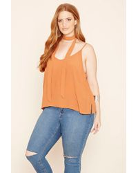 Forever 21 | Brown Plus Size Tie-neck Cami | Lyst