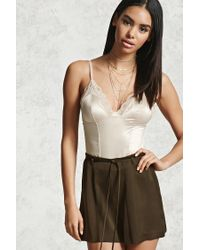 Forever 21 | Green High Waist Belted Satin Shorts | Lyst